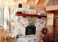 Majestic river rock fireplace